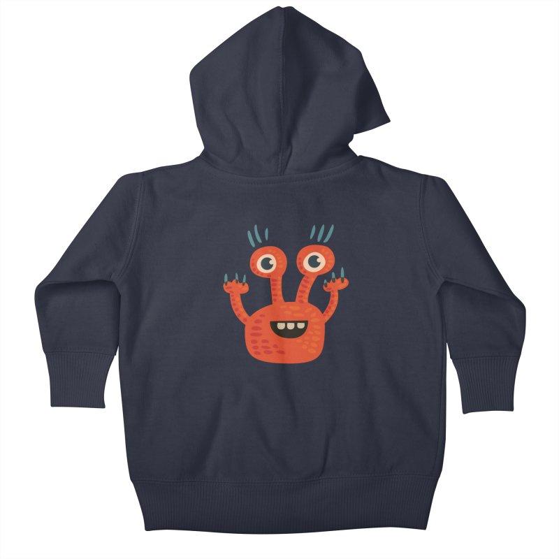 Funny Orange Monster Kids Baby Zip-Up Hoody by Boriana's Artist Shop