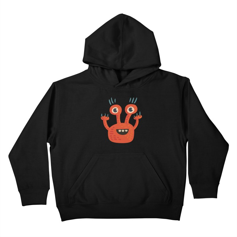 Funny Orange Monster Kids Pullover Hoody by Boriana's Artist Shop