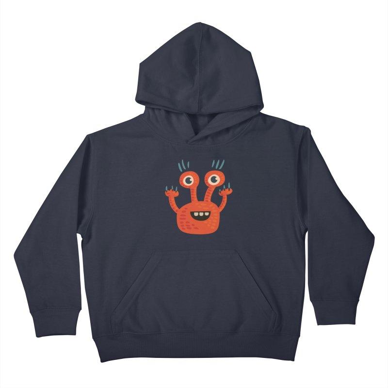Funny Orange Monster Kids Pullover Hoody by Boriana's Artist Shop