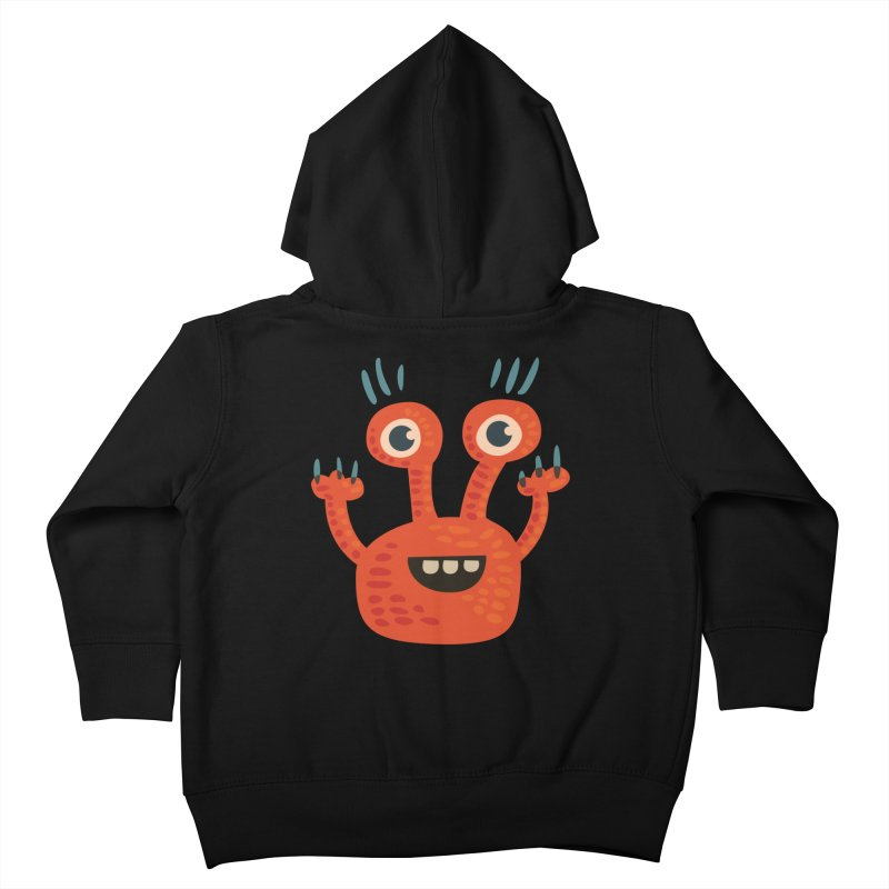 Funny Orange Monster Kids Toddler Zip-Up Hoody by Boriana's Artist Shop