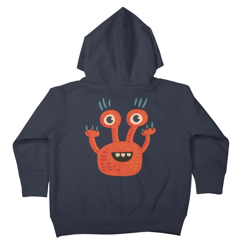 Funny Orange Monster Kids Toddler Zip-Up Hoody by Boriana's Artist Shop