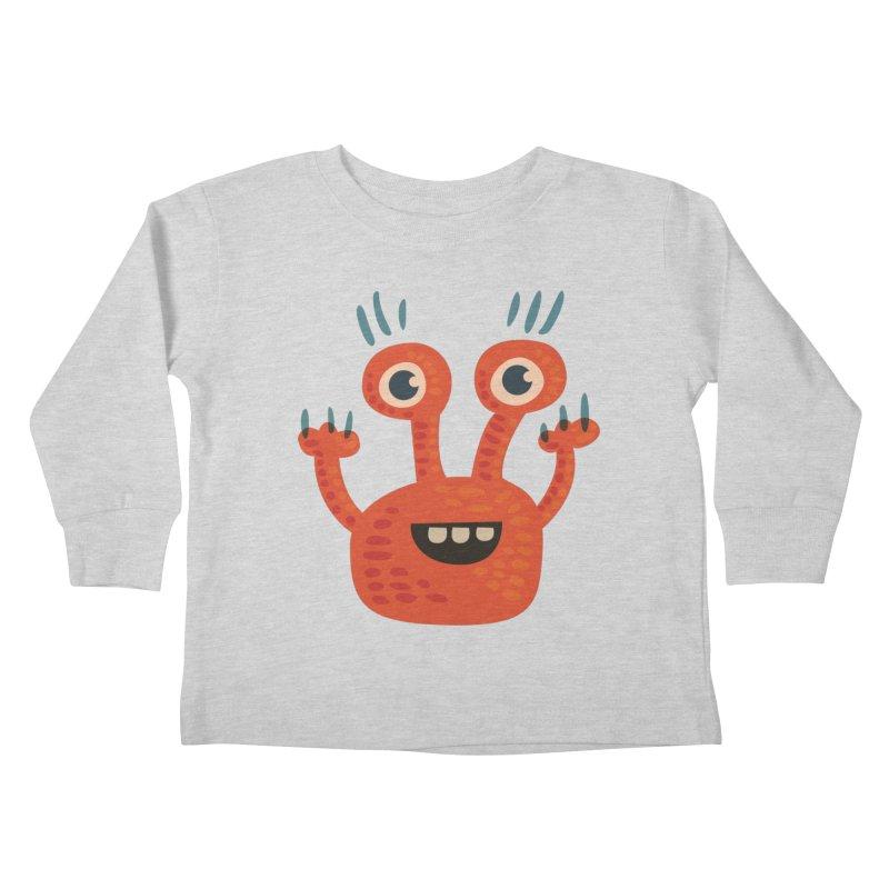 Funny Orange Monster Kids Toddler Longsleeve T-Shirt by Boriana's Artist Shop