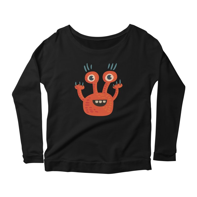 Funny Orange Monster Women's Scoop Neck Longsleeve T-Shirt by Boriana's Artist Shop