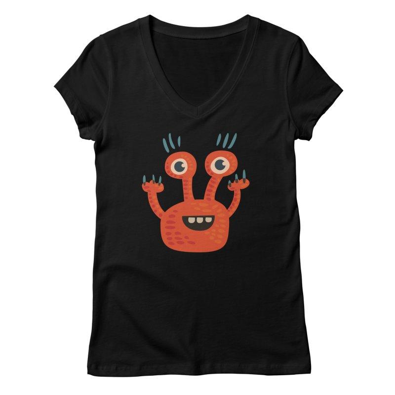 Funny Orange Monster Women's V-Neck by Boriana's Artist Shop