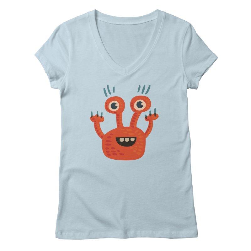 Funny Orange Monster Women's Regular V-Neck by Boriana's Artist Shop