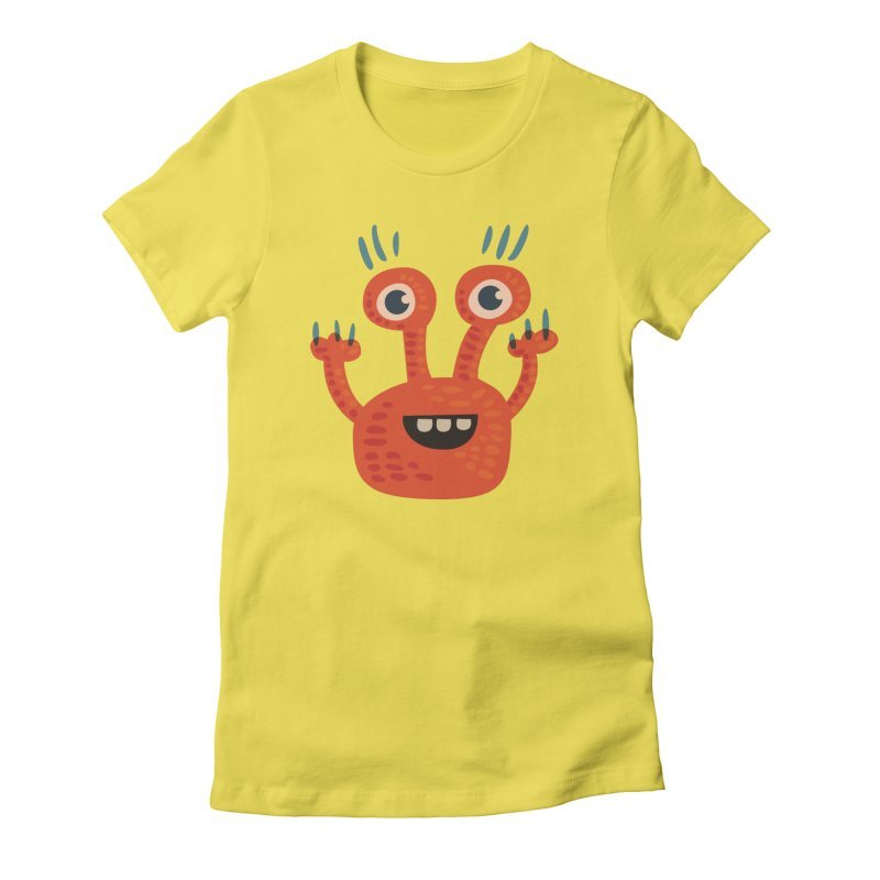 Funny Orange Monster Women's Fitted T-Shirt by Boriana's Artist Shop