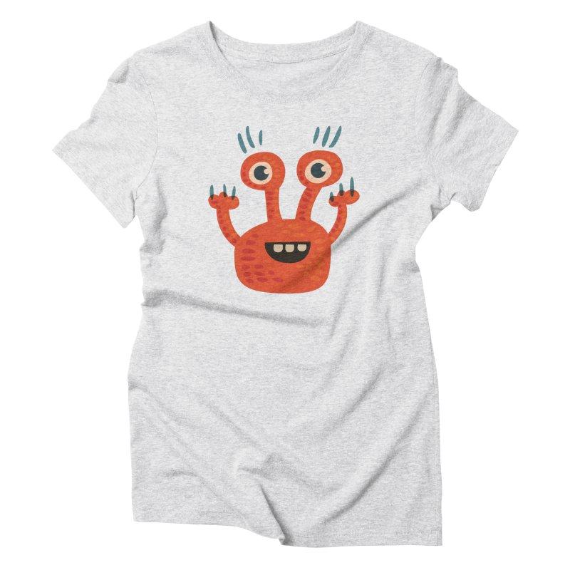 Funny Orange Monster Women's Triblend T-Shirt by Boriana's Artist Shop