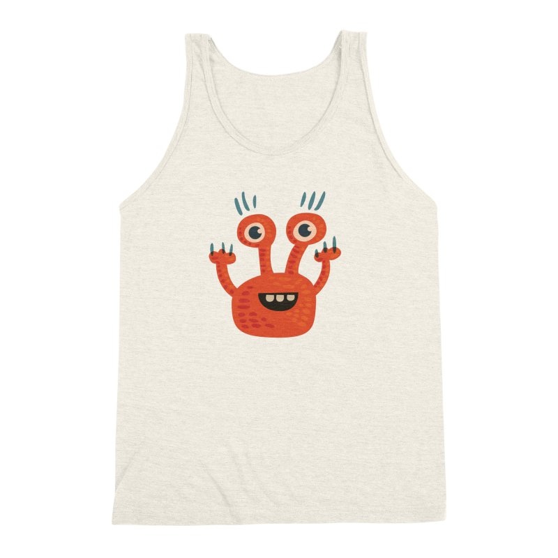 Funny Orange Monster Men's Triblend Tank by Boriana's Artist Shop