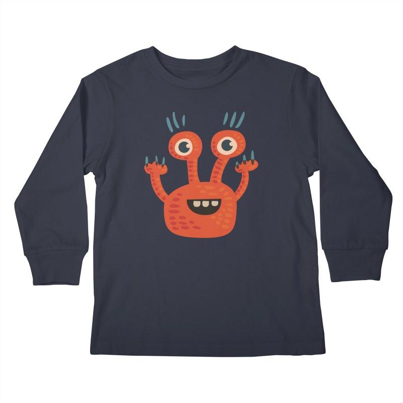 Funny Orange Monster Kids Longsleeve T-Shirt by Boriana's Artist Shop