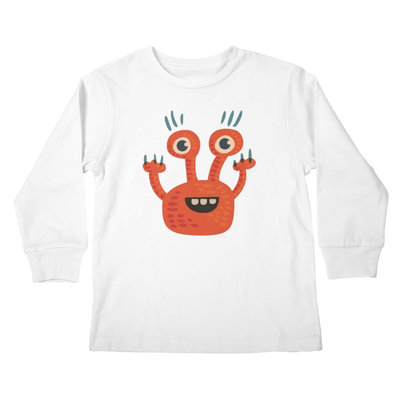 Funny Orange Monster Kids Longsleeve T-Shirt by Boriana's Artist Shop