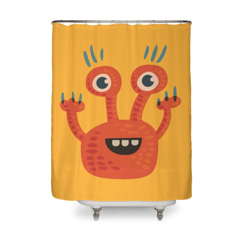 Funny Orange Monster Home Shower Curtain by Boriana's Artist Shop