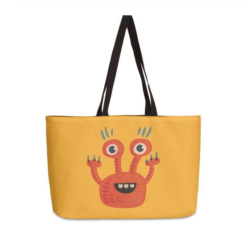 Funny Orange Monster Accessories Weekender Bag Bag by Boriana's Artist Shop