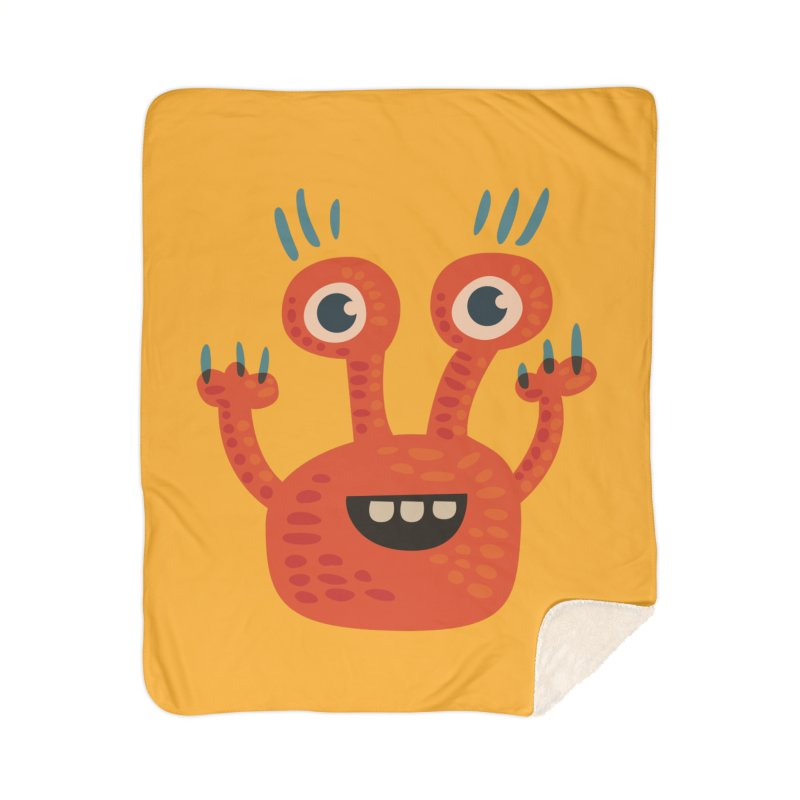 Funny Orange Monster Home Sherpa Blanket Blanket by Boriana's Artist Shop