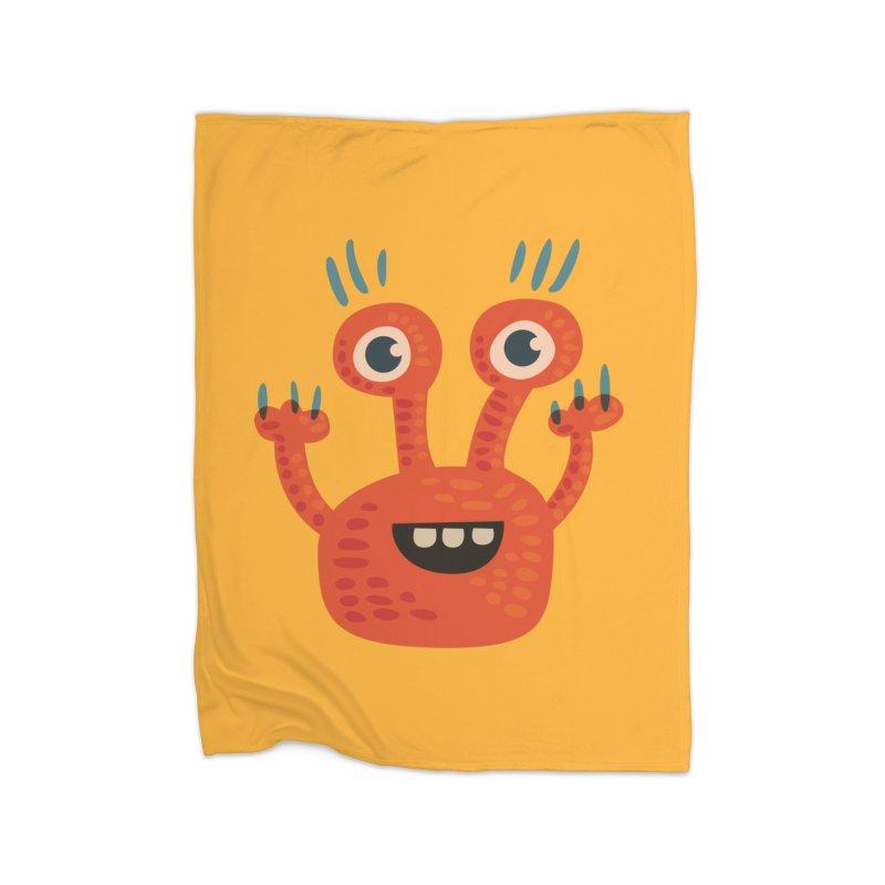 Funny Orange Monster Home Blanket by Boriana's Artist Shop