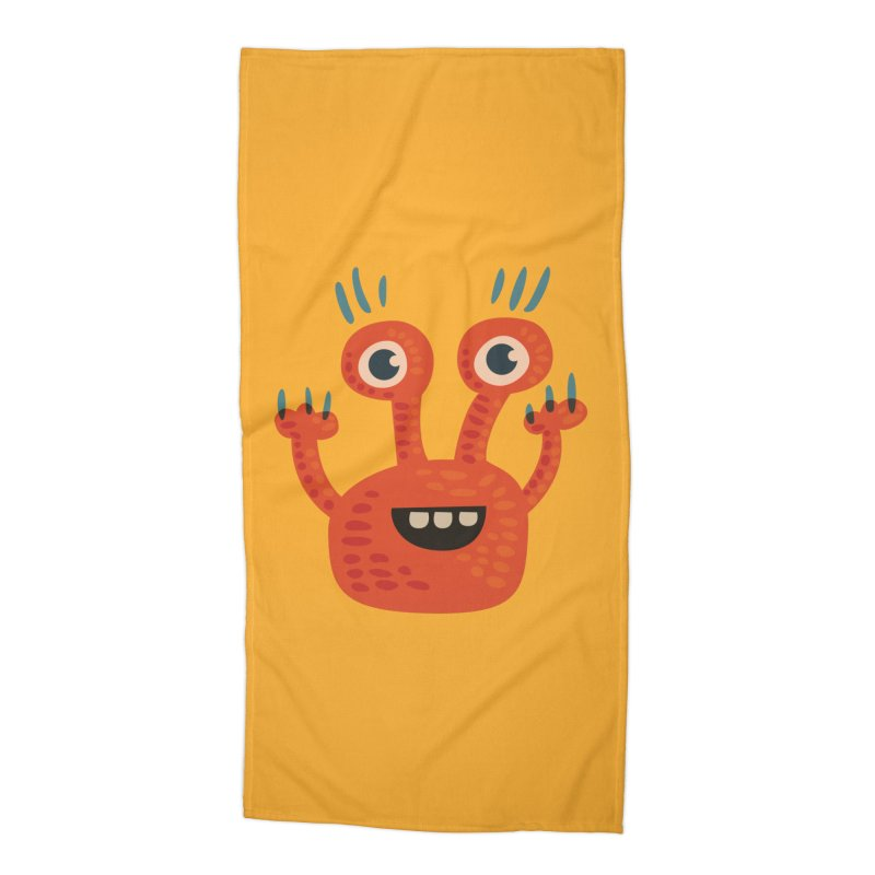 Funny Orange Monster Accessories Beach Towel by Boriana's Artist Shop
