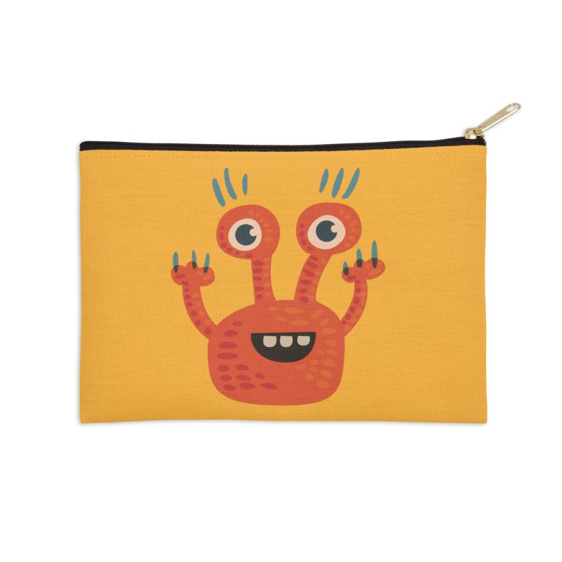 Funny Orange Monster Accessories Zip Pouch by Boriana's Artist Shop