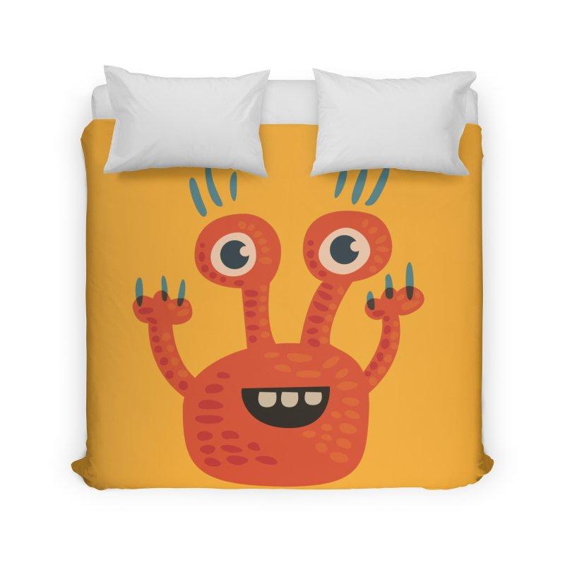 Funny Orange Monster Home Duvet by Boriana's Artist Shop