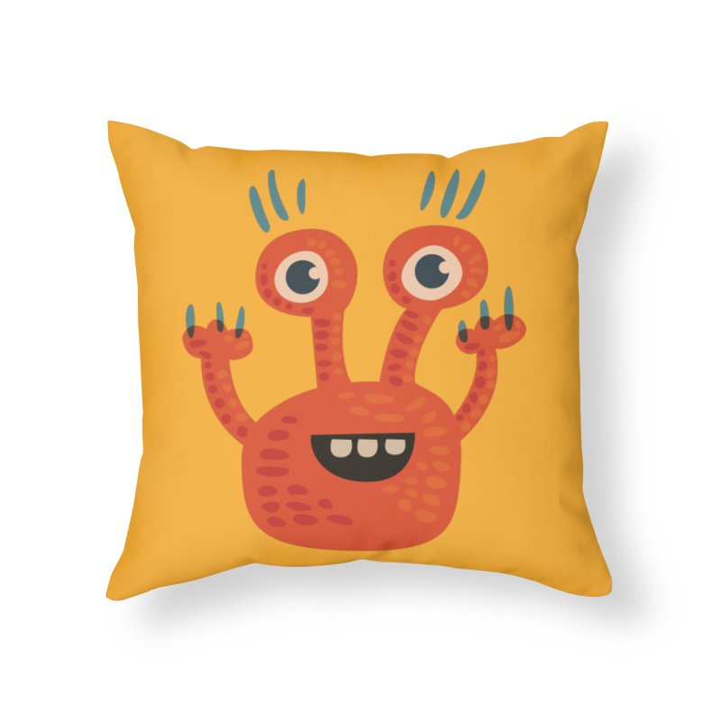 Funny Orange Monster Home Throw Pillow by Boriana's Artist Shop
