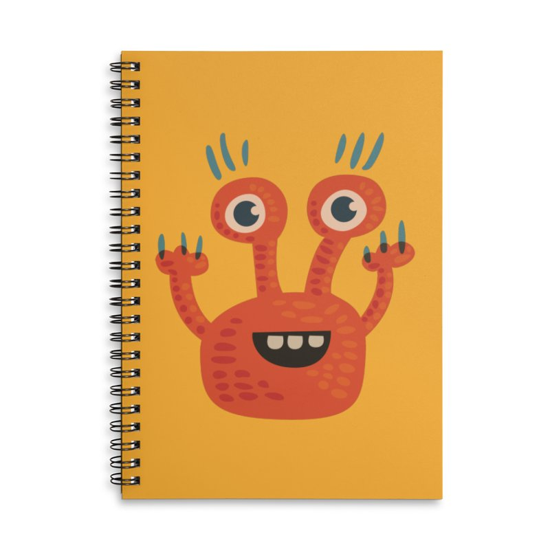 Funny Orange Monster Accessories Lined Spiral Notebook by Boriana's Artist Shop