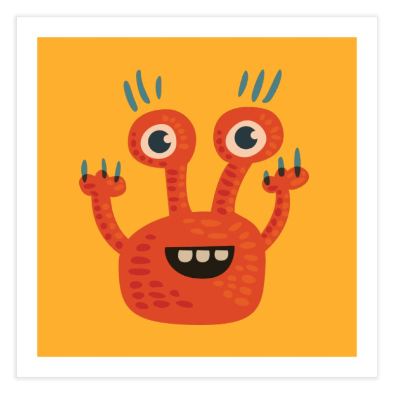 Funny Orange Monster Home Fine Art Print by Boriana's Artist Shop