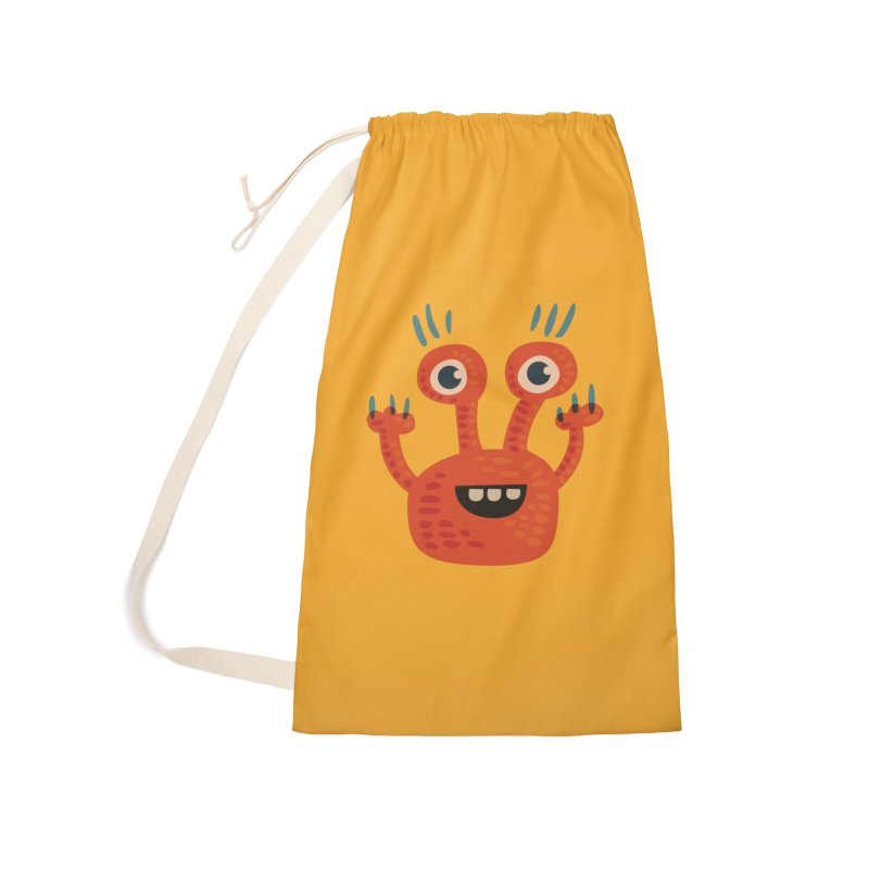 Funny Orange Monster Accessories Laundry Bag Bag by Boriana's Artist Shop