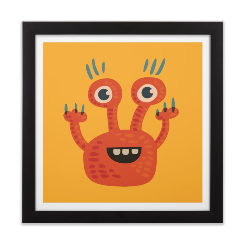 Funny Orange Monster Home Framed Fine Art Print by Boriana's Artist Shop