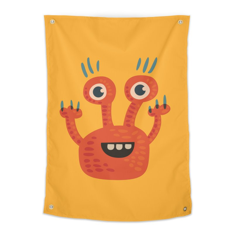 Funny Orange Monster Home Tapestry by Boriana's Artist Shop