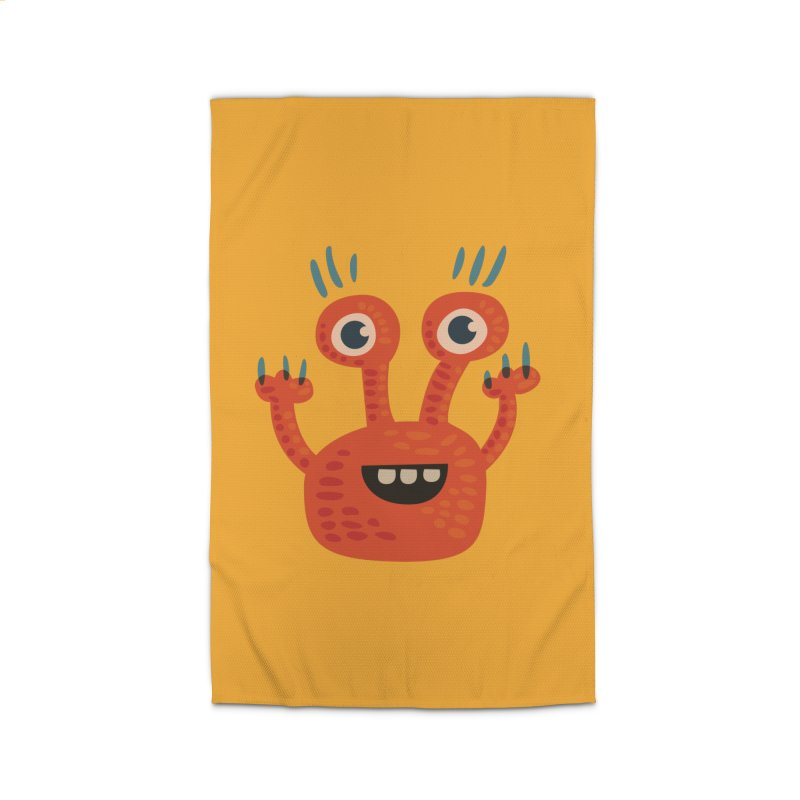 Funny Orange Monster Home Rug by Boriana's Artist Shop