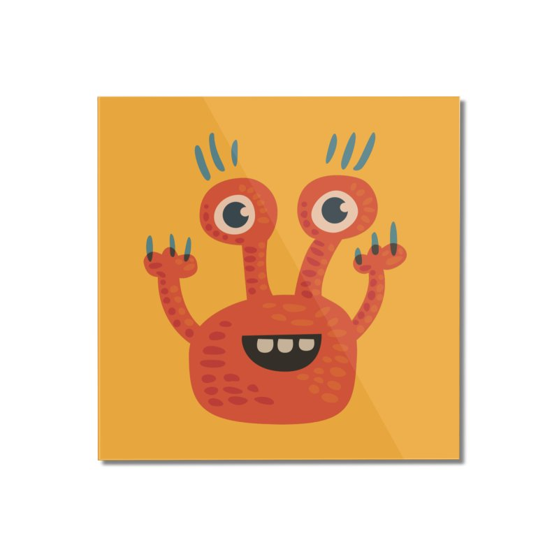 Funny Orange Monster Home Mounted Acrylic Print by Boriana's Artist Shop