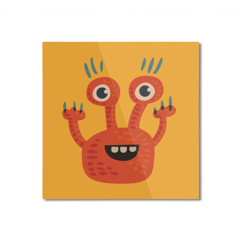 Funny Orange Monster Home Mounted Aluminum Print by Boriana's Artist Shop