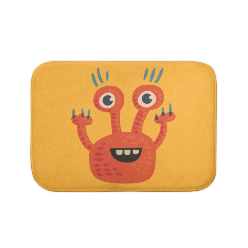 Funny Orange Monster Home Bath Mat by Boriana's Artist Shop
