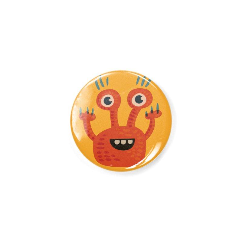 Funny Orange Monster Accessories Button by Boriana's Artist Shop