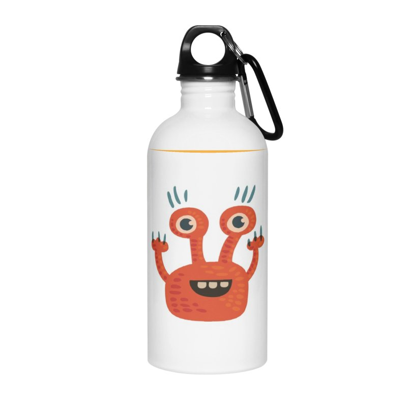 Funny Orange Monster Accessories Water Bottle by Boriana's Artist Shop