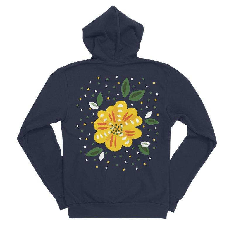 Abstract Yellow Primrose Flower Women's Sponge Fleece Zip-Up Hoody by Boriana's Artist Shop