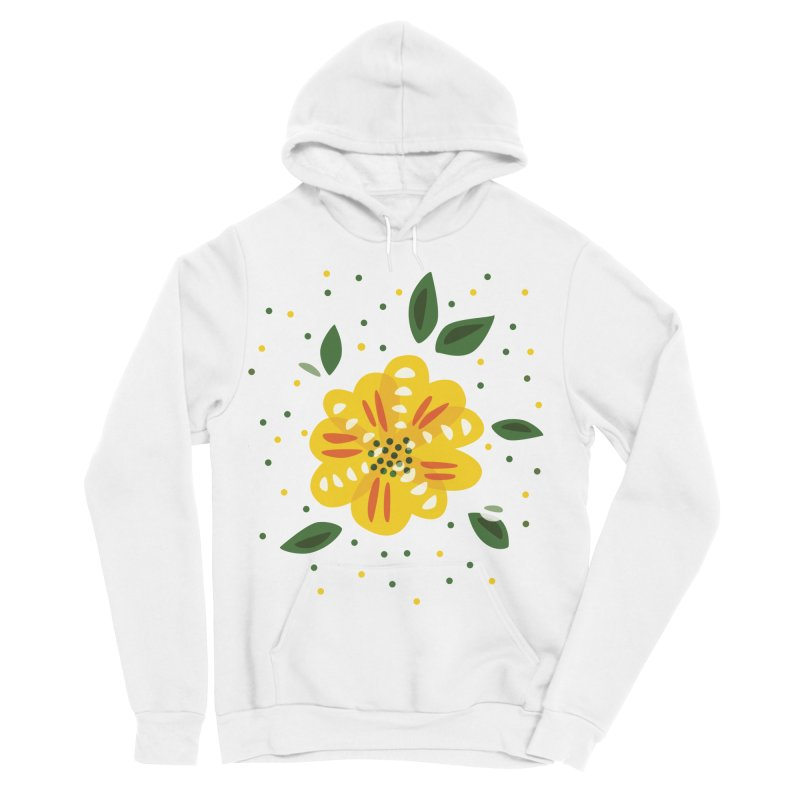 Abstract Yellow Primrose Flower Women's Sponge Fleece Pullover Hoody by Boriana's Artist Shop