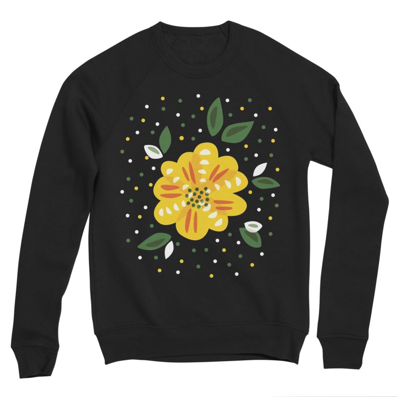 Abstract Yellow Primrose Flower Women's Sponge Fleece Sweatshirt by Boriana's Artist Shop