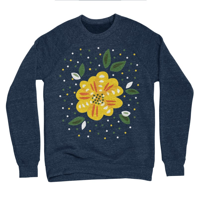 Abstract Yellow Primrose Flower Women's Sponge Fleece Sweatshirt by Boriana's Artist Shop