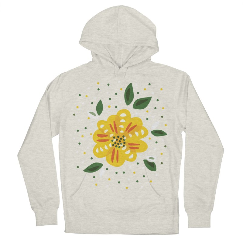 Abstract Yellow Primrose Flower Women's French Terry Pullover Hoody by Boriana's Artist Shop