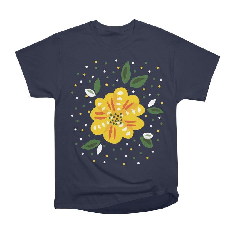 Abstract Yellow Primrose Flower Women's Classic Unisex T-Shirt by Boriana's Artist Shop