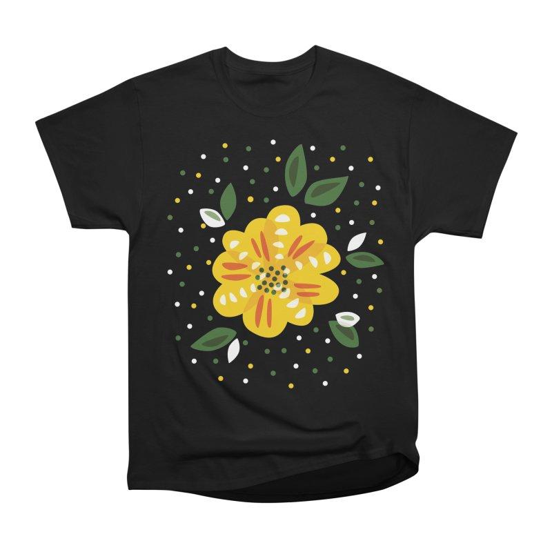 Abstract Yellow Primrose Flower Women's Heavyweight Unisex T-Shirt by Boriana's Artist Shop