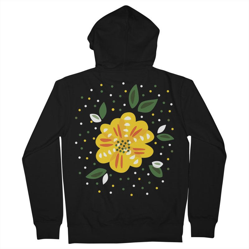 Abstract Yellow Primrose Flower Women's French Terry Zip-Up Hoody by Boriana's Artist Shop