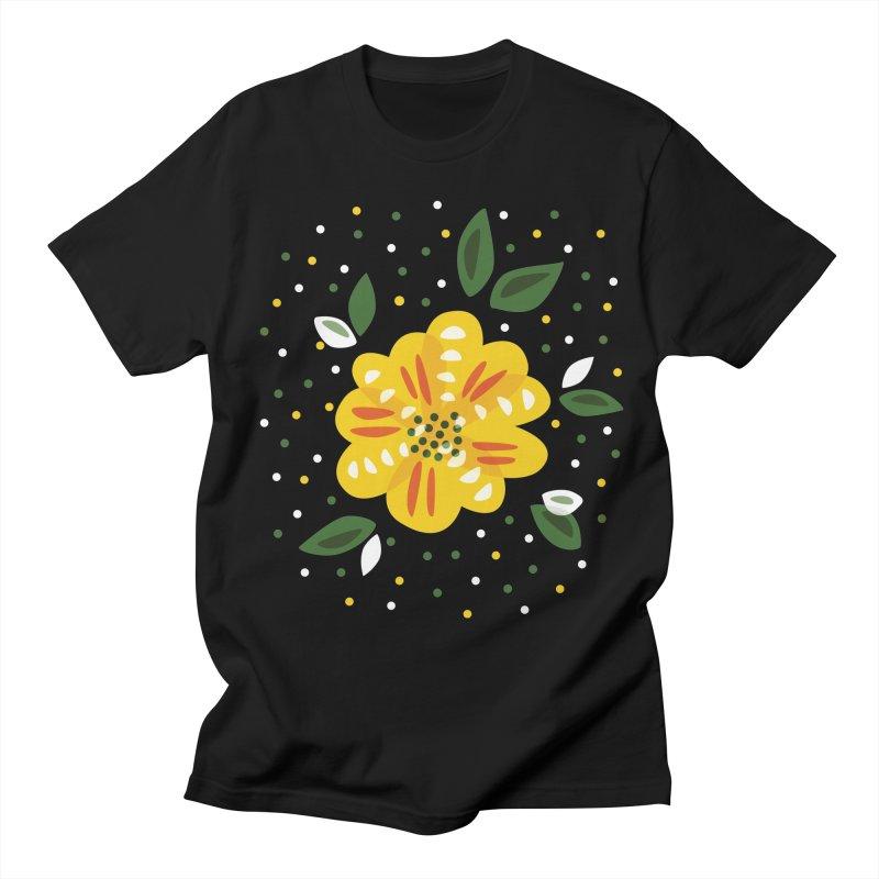 Abstract Yellow Primrose Flower Women's Regular Unisex T-Shirt by Boriana's Artist Shop