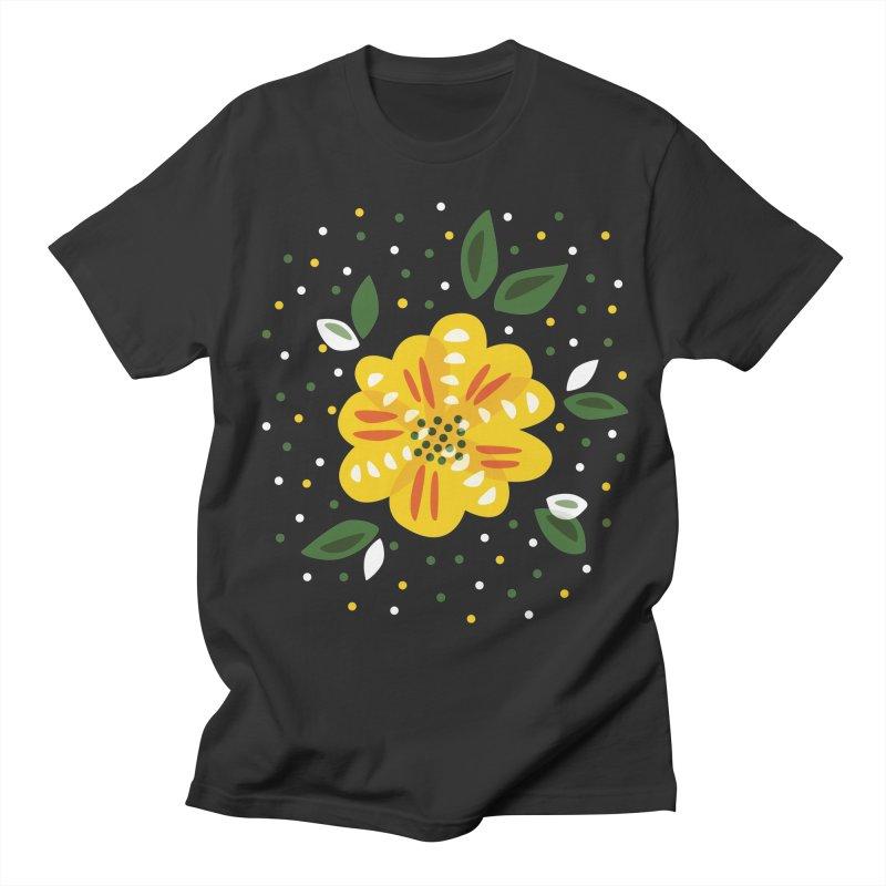 Abstract Yellow Primrose Flower Women's Unisex T-Shirt by Boriana's Artist Shop