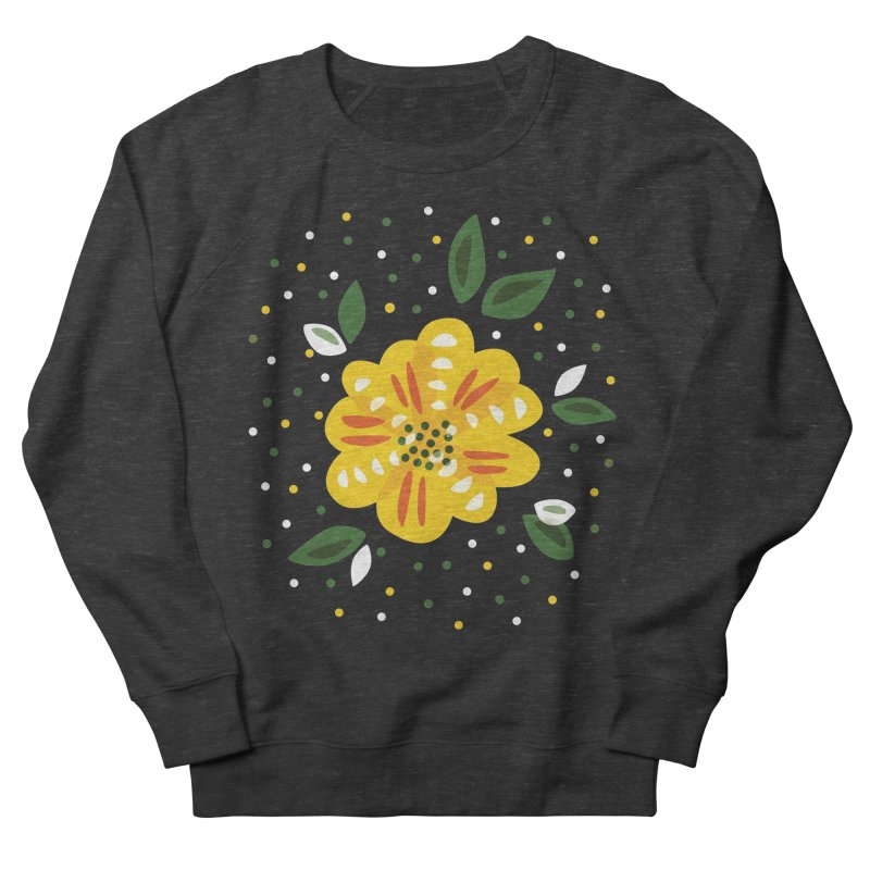 Abstract Yellow Primrose Flower Women's French Terry Sweatshirt by Boriana's Artist Shop