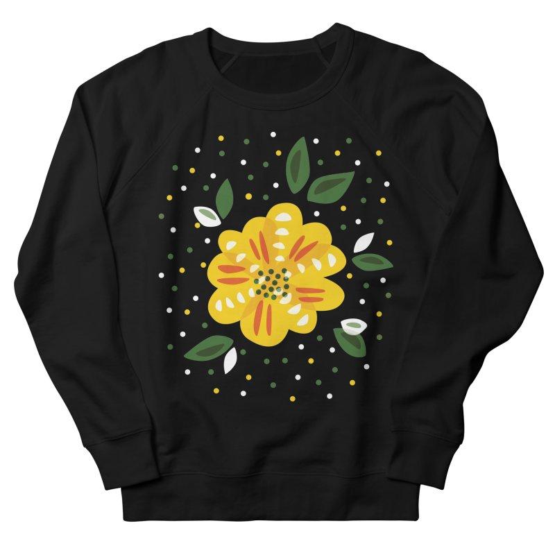 Abstract Yellow Primrose Flower Women's French Terry Sweatshirt by Boriana's Artist Shop
