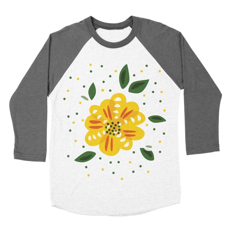 Abstract Yellow Primrose Flower Women's Baseball Triblend Longsleeve T-Shirt by Boriana's Artist Shop