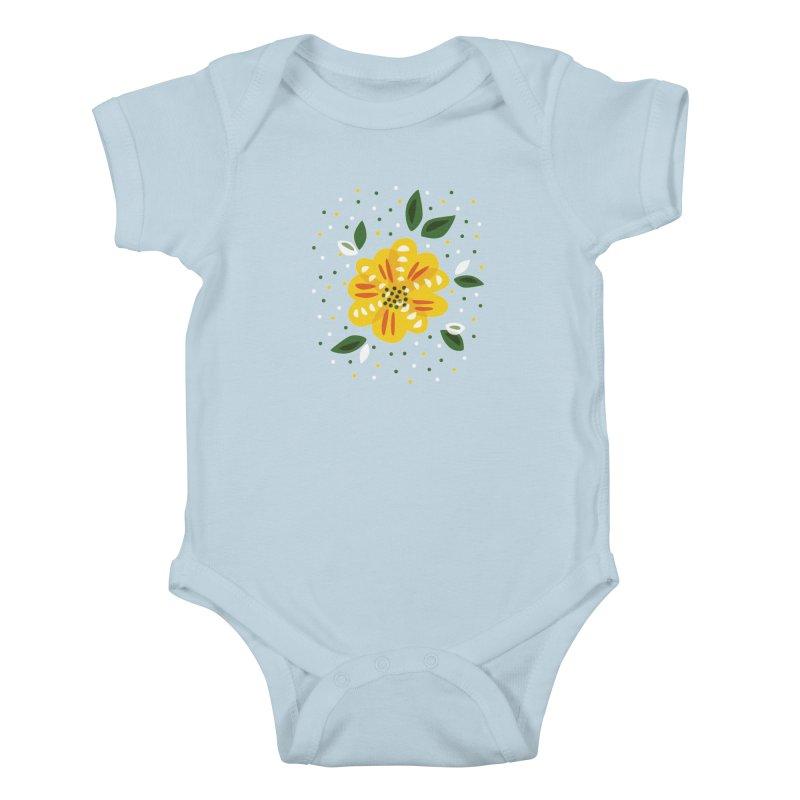 Abstract Yellow Primrose Flower Kids Baby Bodysuit by Boriana's Artist Shop