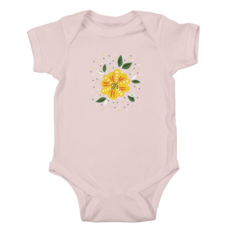Abstract Yellow Primrose Flower Kids Baby Bodysuit by Boriana's Artist Shop