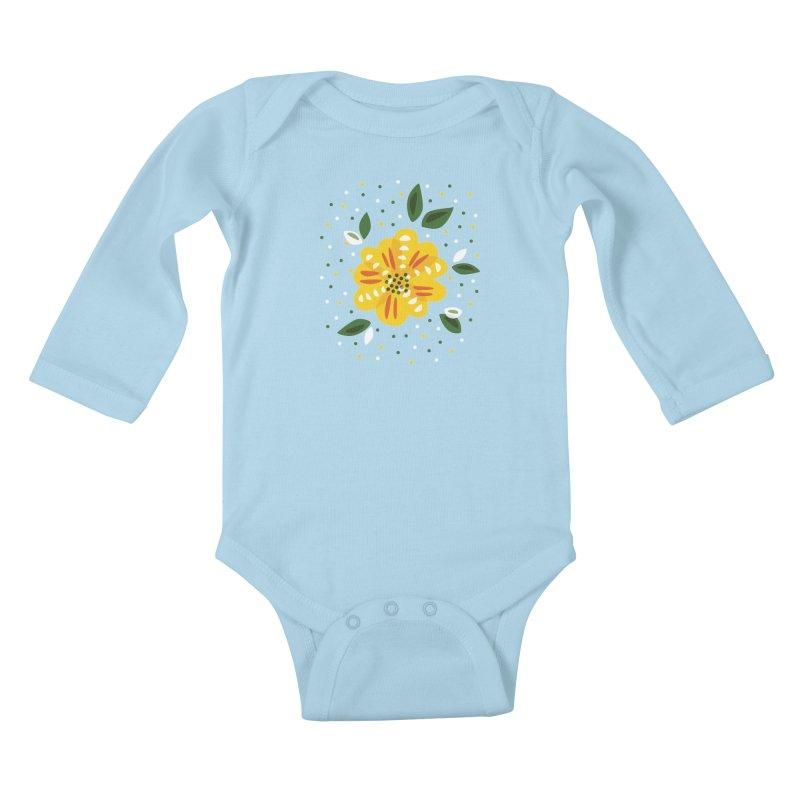 Abstract Yellow Primrose Flower Kids Baby Longsleeve Bodysuit by Boriana's Artist Shop