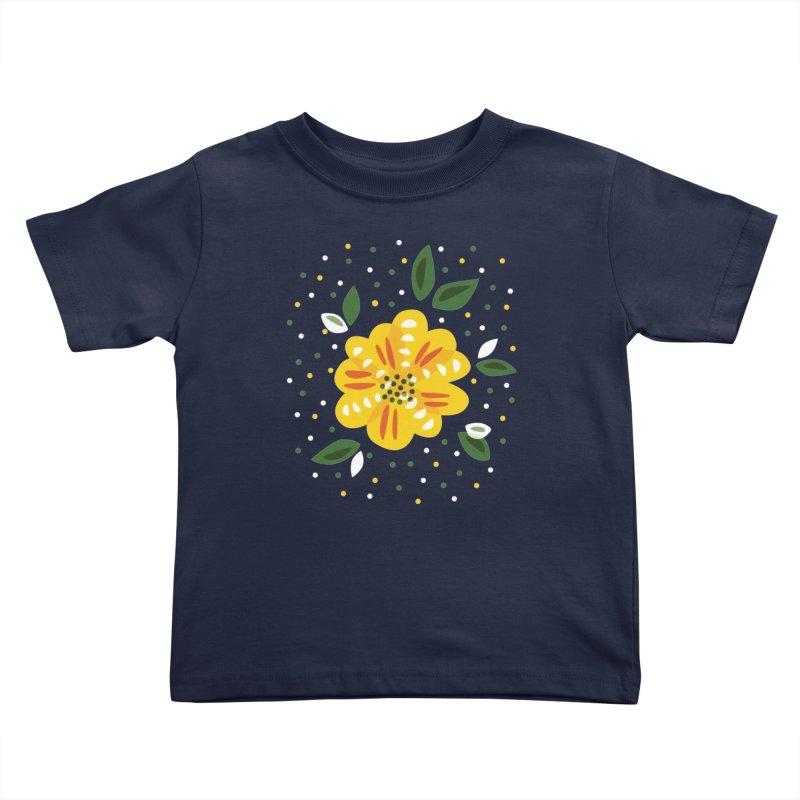 Abstract Yellow Primrose Flower Kids Toddler T-Shirt by Boriana's Artist Shop